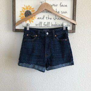 Abercrombie & Fitch High Rise Jean Shorts Cuffed